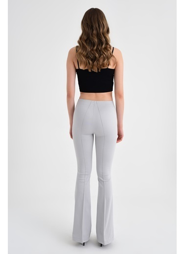 Jument Ön Arka Dikişli Ispanyol Paça Tayt Pantolon -Mint Gri